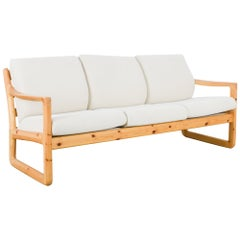 Danish Modern Wooden Sofa with Upholstered Seat and Back