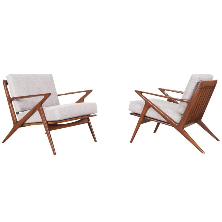 """Danish Modern """"Z"""" Lounge Chairs by Poul Jensen for Selig For Sale"""
