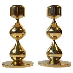 Danish Modernist 24-Carat Gold-Plated Candlesticks by Hugo Asmussen