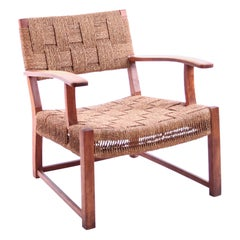 Danish Modernist Beech and Seagrass Lounge Chair 1940s
