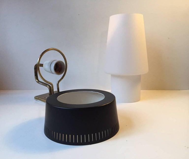 Mid-Century Modern Danish Modernist Cased Glass and Brass Sconce by Bent Karlby, Lyfa, Stilnovo Era For Sale