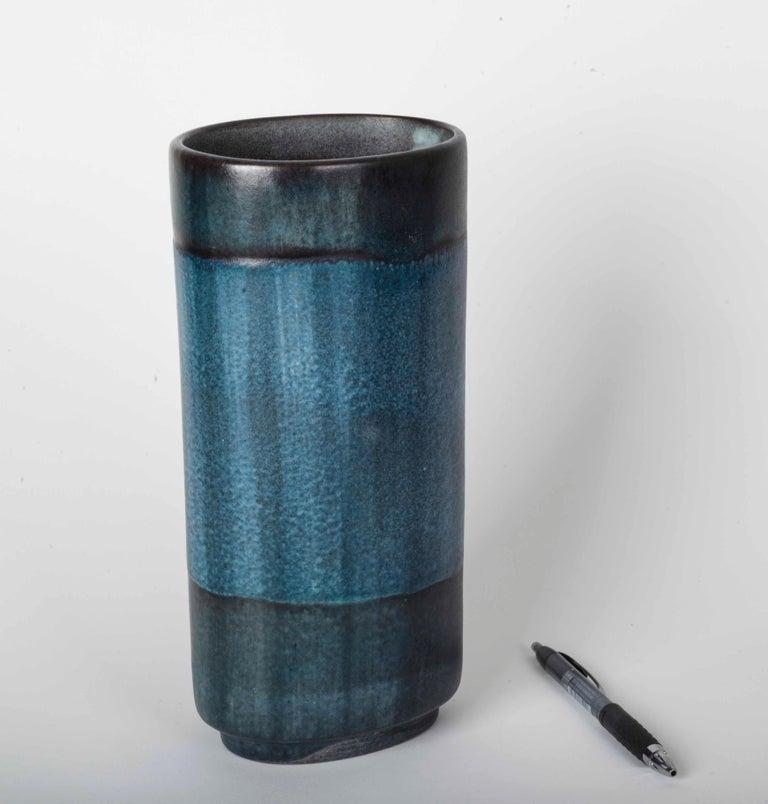Danish Modernist Ceramic Vase in Blue and Green For Sale 5