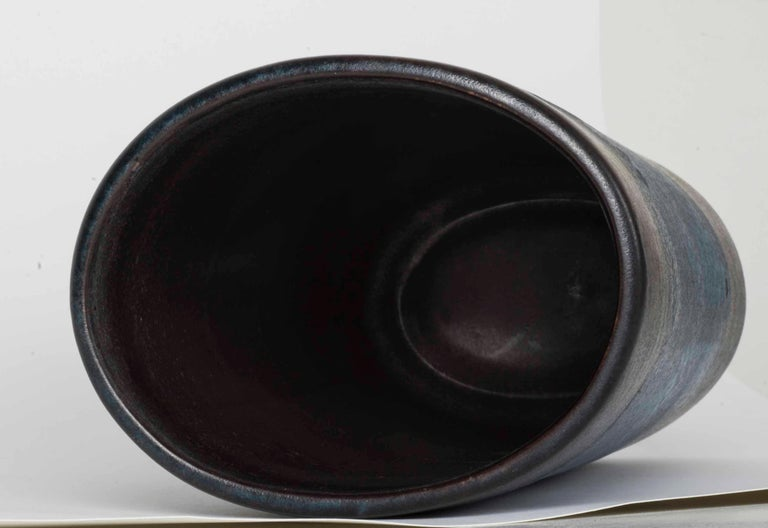 Danish Modernist Ceramic Vase in Blue and Green For Sale 6
