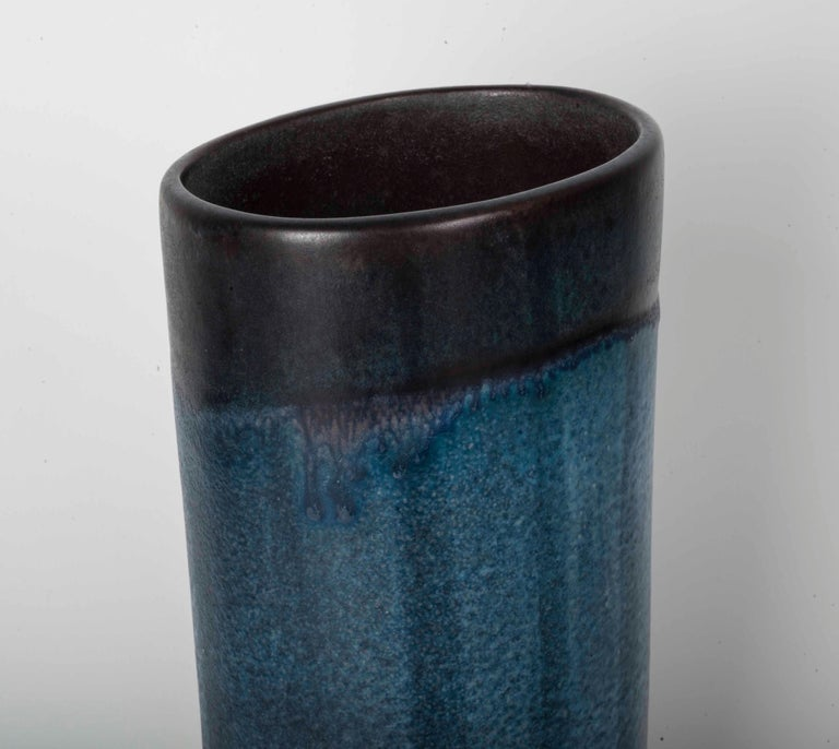 Danish oval vase with mark at the bottom and serial number.