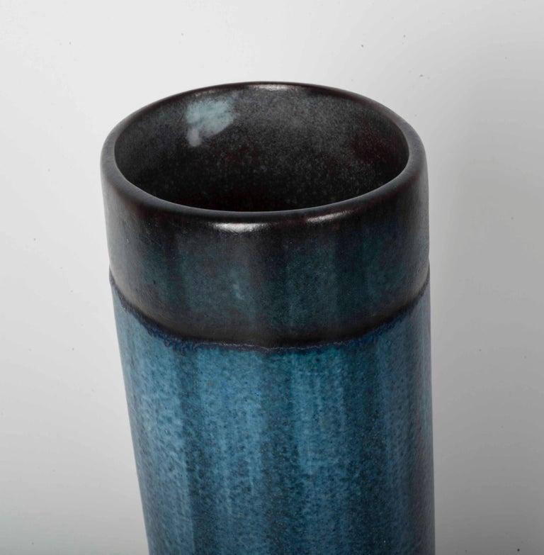 Mid-Century Modern Danish Modernist Ceramic Vase in Blue and Green For Sale