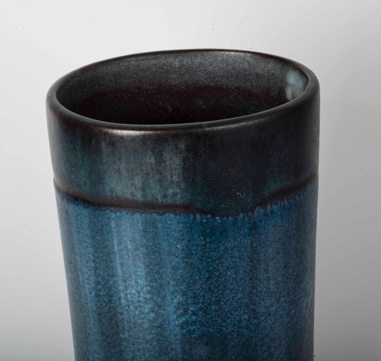 Danish Modernist Ceramic Vase in Blue and Green In Good Condition For Sale In Lisbon, IT