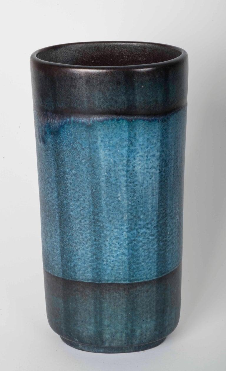 Danish Modernist Ceramic Vase in Blue and Green For Sale 1