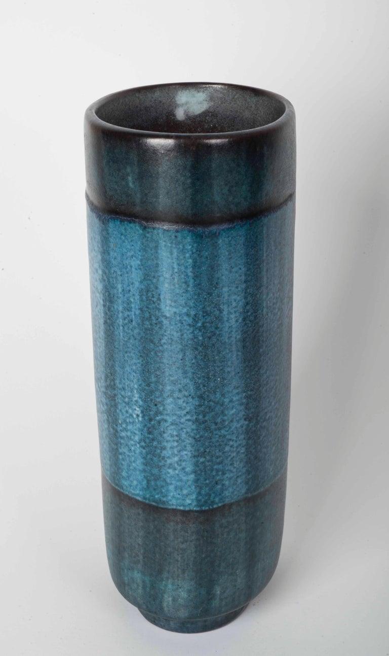 Danish Modernist Ceramic Vase in Blue and Green For Sale 2