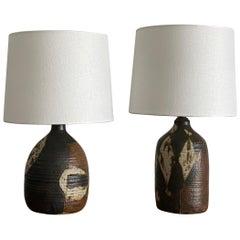 Danish Modernist Ceramicist, Table Lamps, Glazed Stoneware, Denmark, 1950s