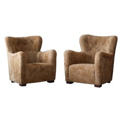 Danish Modernist Designer, Organic Lounge Chairs, Beige Sheepskin Denmark, 1940s