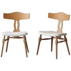 Danish Modernist Designer, Side Chairs, Oak, White Fabric, Denmark, 1960s