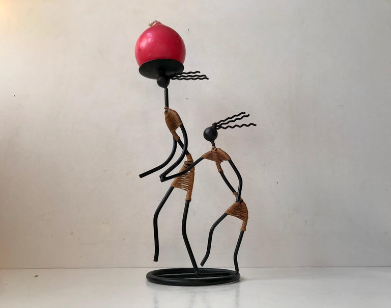 Blackened Danish Modernist Female Black String Candleholder by Laurids Lonborg, 1960s For Sale
