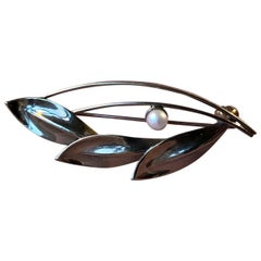 Danish Modernist Leaf Brooch in Gold and with Akoya Pearl by Herman Siersbøl