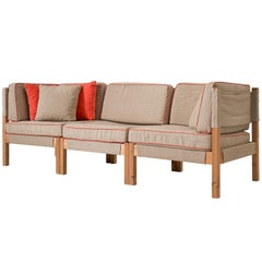 Danish Modular Sofa in Natural Canvas and Red Accents
