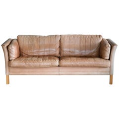 Danish Mogens Hansen 2 1/2-Seat Sofa in Light Tan Patchwork Buffalo Leather