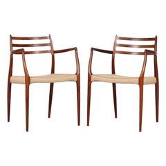 Danish N. O. Møller Pair of Armchairs No. 62  of Rosewood Made by J.L. Møller