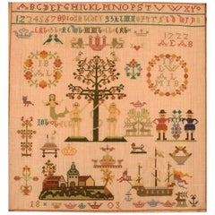 Danish Name Cloth Embroidery, Dated 1803