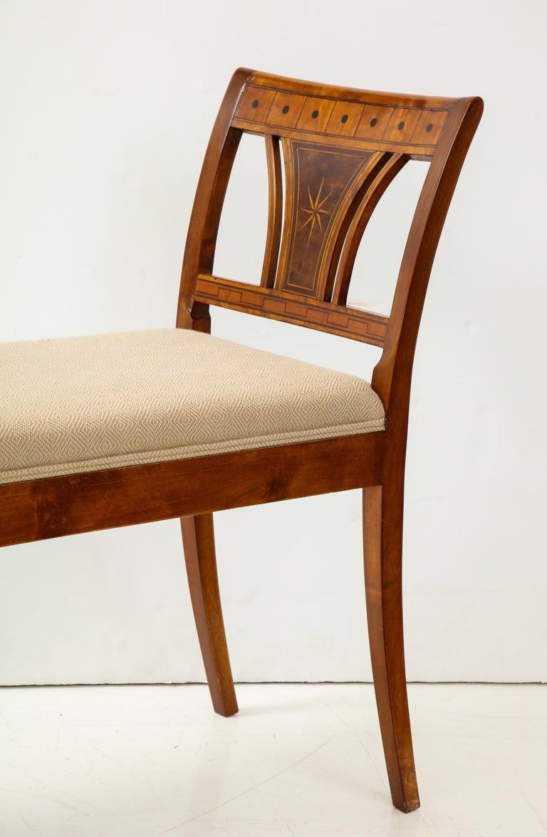 Danish Neoclassical Inlaid Birchwood Window Seat, 19th Century For Sale 7
