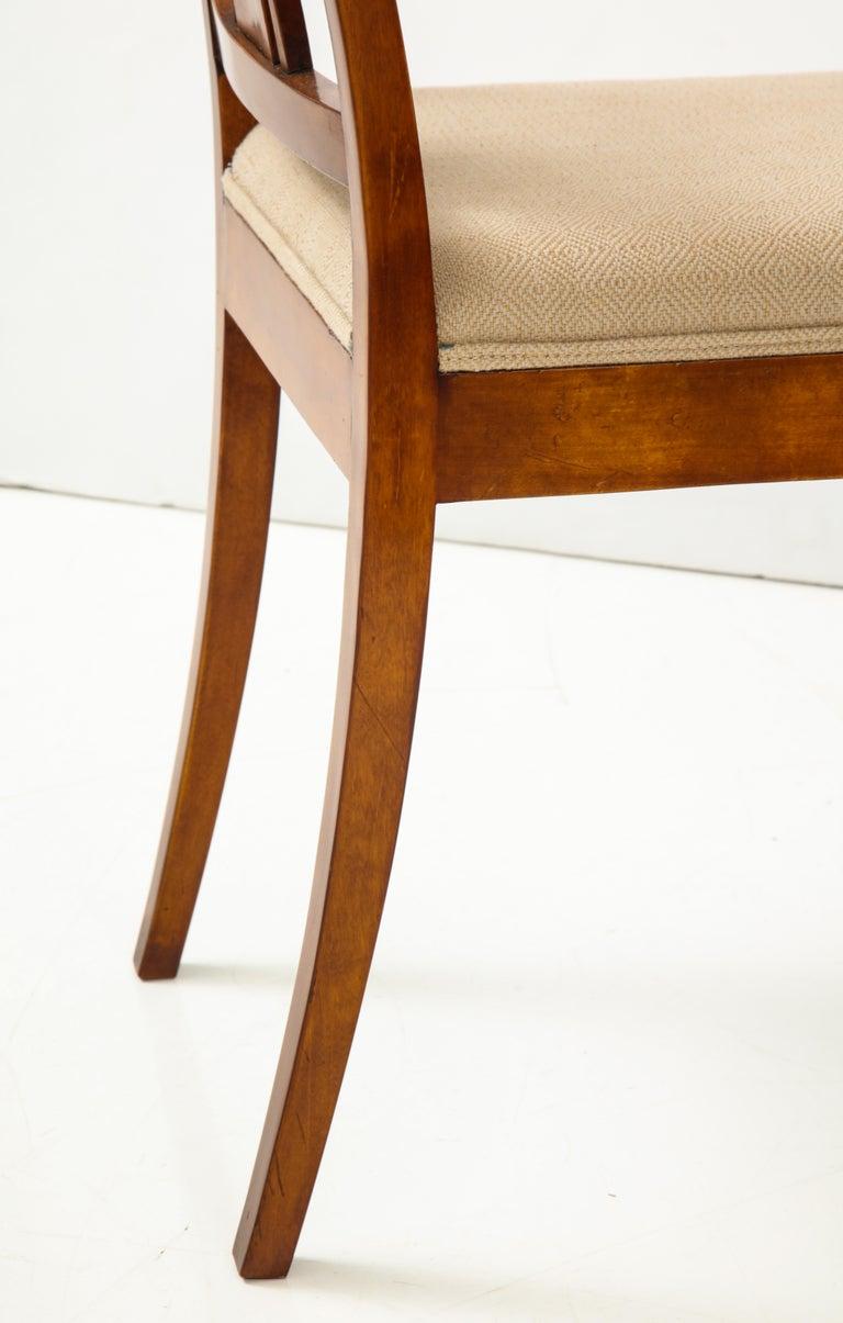 Danish Neoclassical Inlaid Birchwood Window Seat, 19th Century For Sale 8