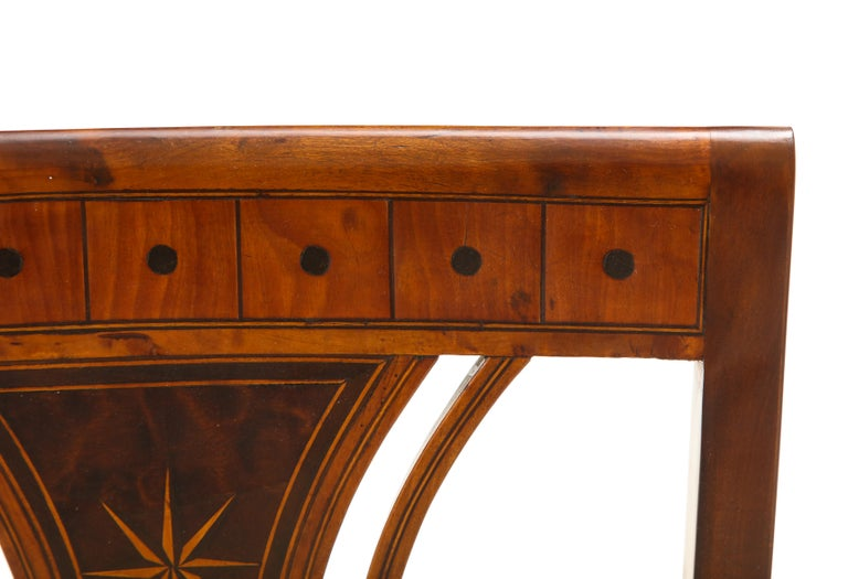 Danish Neoclassical Inlaid Birchwood Window Seat, 19th Century For Sale 9