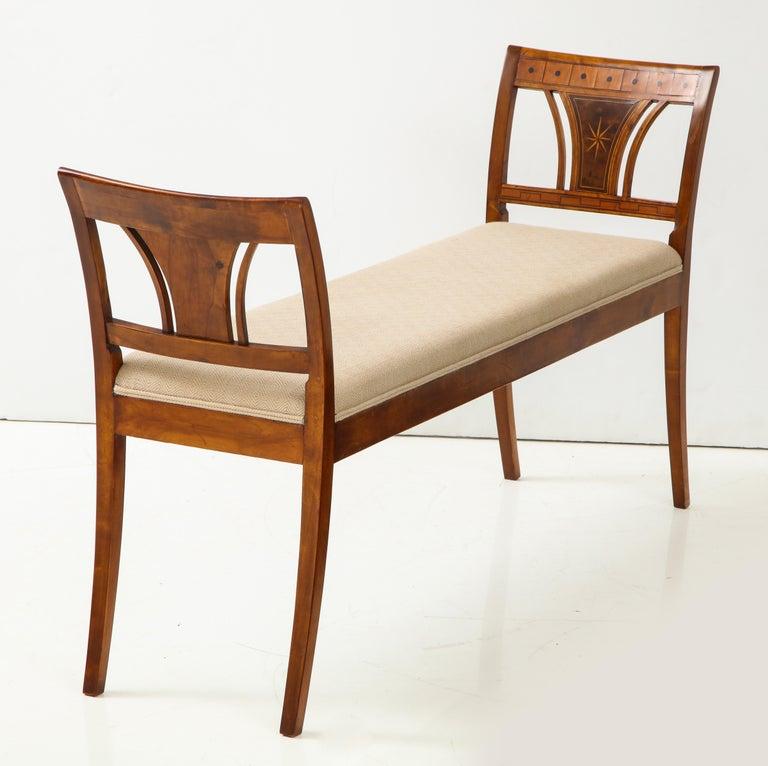 Danish Neoclassical Inlaid Birchwood Window Seat, 19th Century For Sale 2