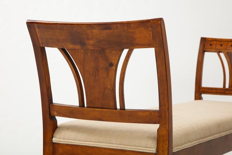 Danish Neoclassical Inlaid Birchwood Window Seat, 19th Century For Sale 3