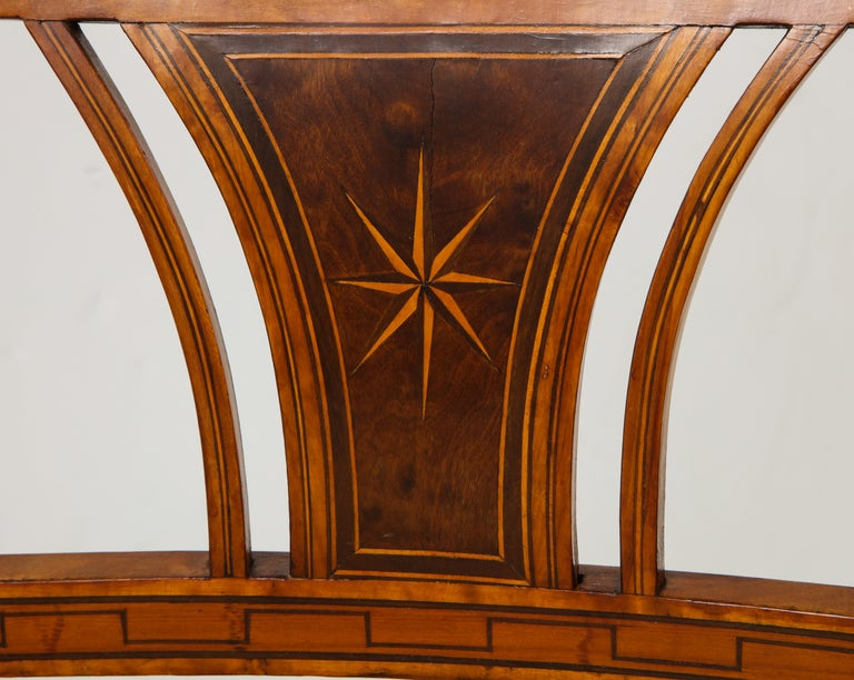 Danish Neoclassical Inlaid Birchwood Window Seat, 19th Century For Sale 5
