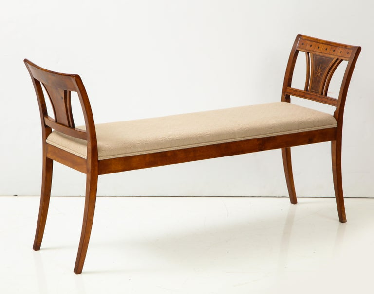 Danish Neoclassical Inlaid Birchwood Window Seat, 19th Century For Sale 6
