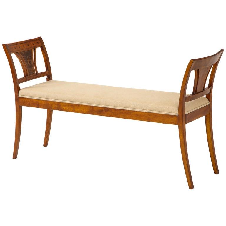 Danish Neoclassical Inlaid Birchwood Window Seat, 19th Century For Sale