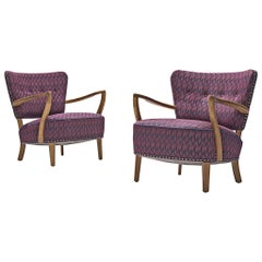 Danish Oak Armchairs in Purple Upholstery