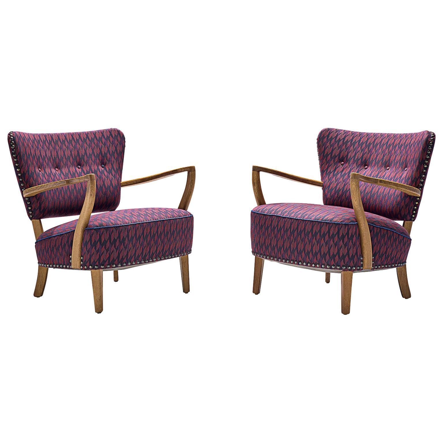 Danish Oak Armchairs in Purple Upholstery