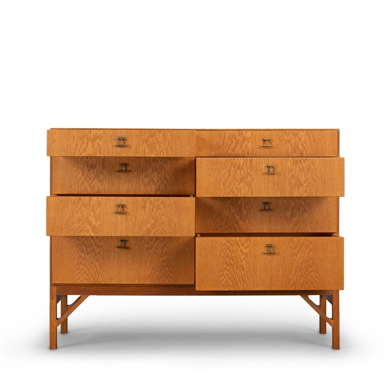 Rare and well crafted Børge Mogensen chest of drawers No. 234 manufactured by FDB Møbler as part of his China series in the 1960s. Very robust design made in high quality. This spacious chest of drawers is in a good vintage condition and has all