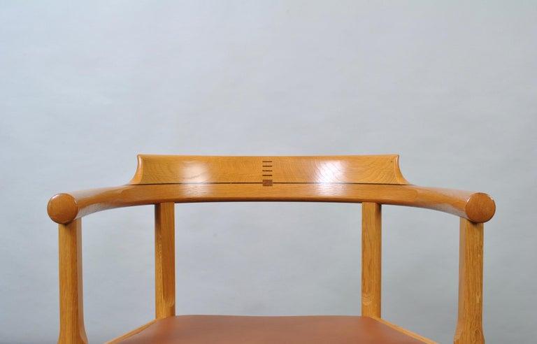 Leather Danish Oak Desk Chair, Hans J Wegner For Sale