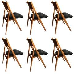Danish Oak Midcentury Dining Chairs, Six, Fully Refurbished