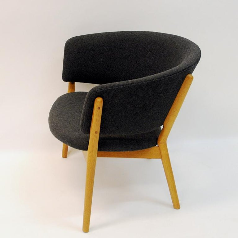 Wool Danish Oak Easy Chair Mod ND83 by Nanna Ditzel, Denmark, 1950's For Sale