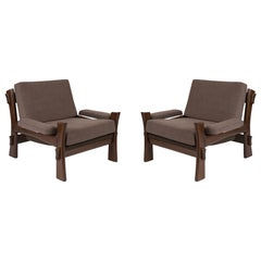 Danish Oak and Grey Upholstered Lounge Chairs