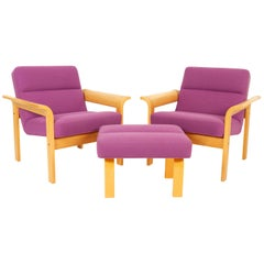 Danish Oak Lounge Chairs and Ottoman by Thygesen & Sørensen for Magnus Olesen