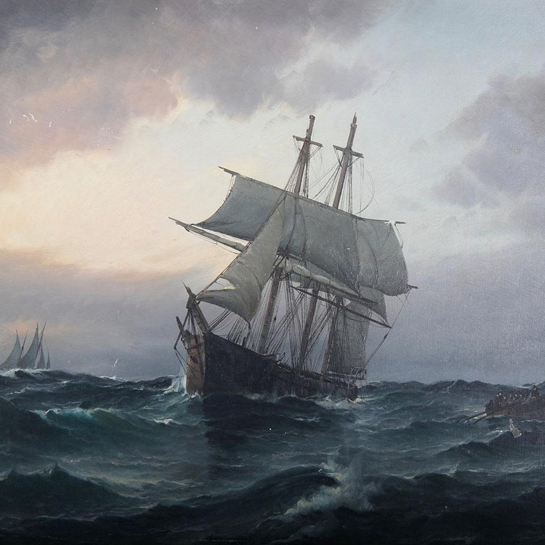 A large seascape oil on canvas by the Danish artist Vilhelm Bille (1864-1908) depicting a three-masted sailing ship in peril, its crew abandoning ship in their longboat.