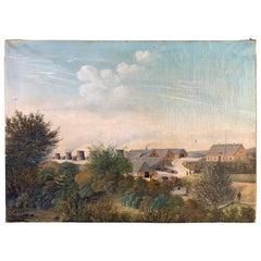 Danish Farm Landscape Oil Painting Dated 1884