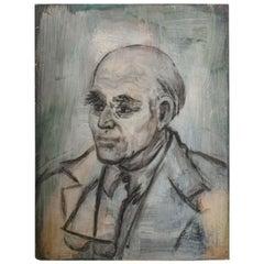 Danish Oil Portrait Midcentury Art Distinguished Gentleman Signed Hansen
