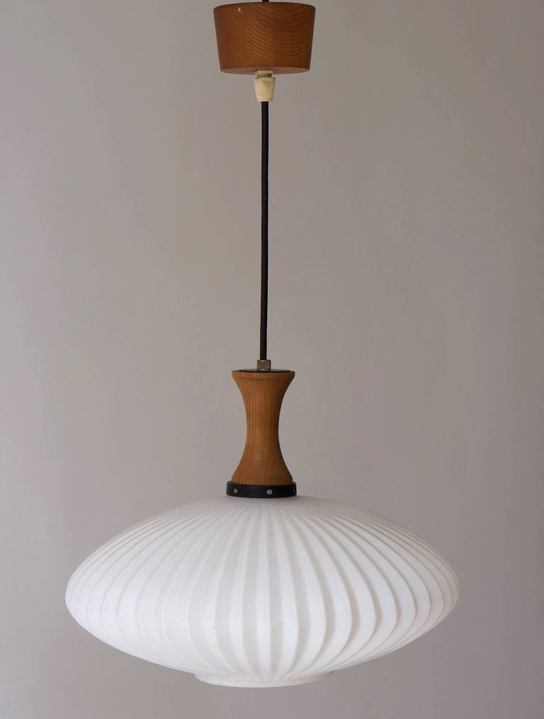 Danish Opaline and Wood Pendant Light In Good Condition For Sale In Antwerp, BE