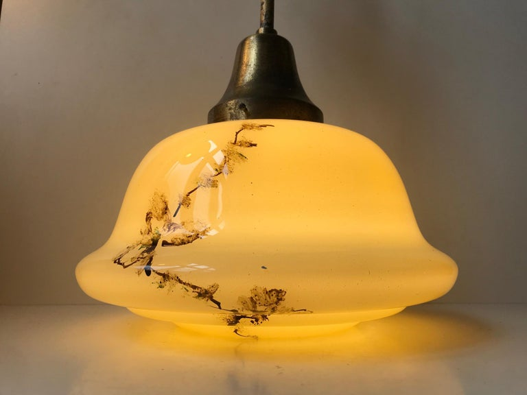 Danish Opaline Glass and Brass Funkis Pendant Lamp from Lyfa, 1930s For Sale 1