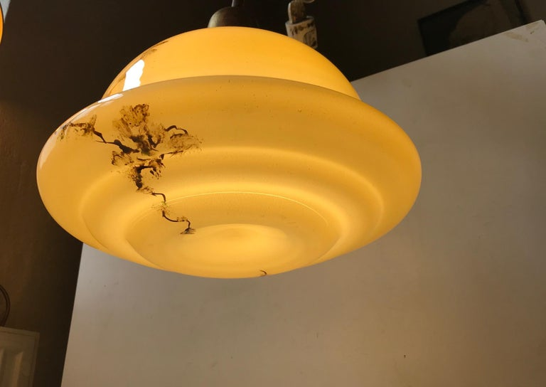 Danish Opaline Glass and Brass Funkis Pendant Lamp from Lyfa, 1930s For Sale 2