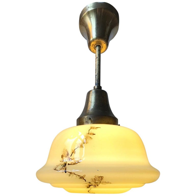 Danish Opaline Glass and Brass Funkis Pendant Lamp from Lyfa, 1930s For Sale