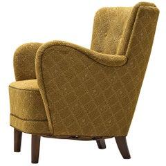 Danish Organic Shaped Lounge Chair in Mustard Yellow Fabric, 1940s