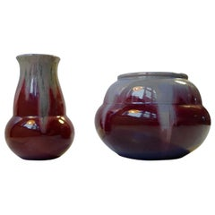 Danish Oxblood & Grey Drip Glaze Vases by Daniel Andersen for Michael Andersen