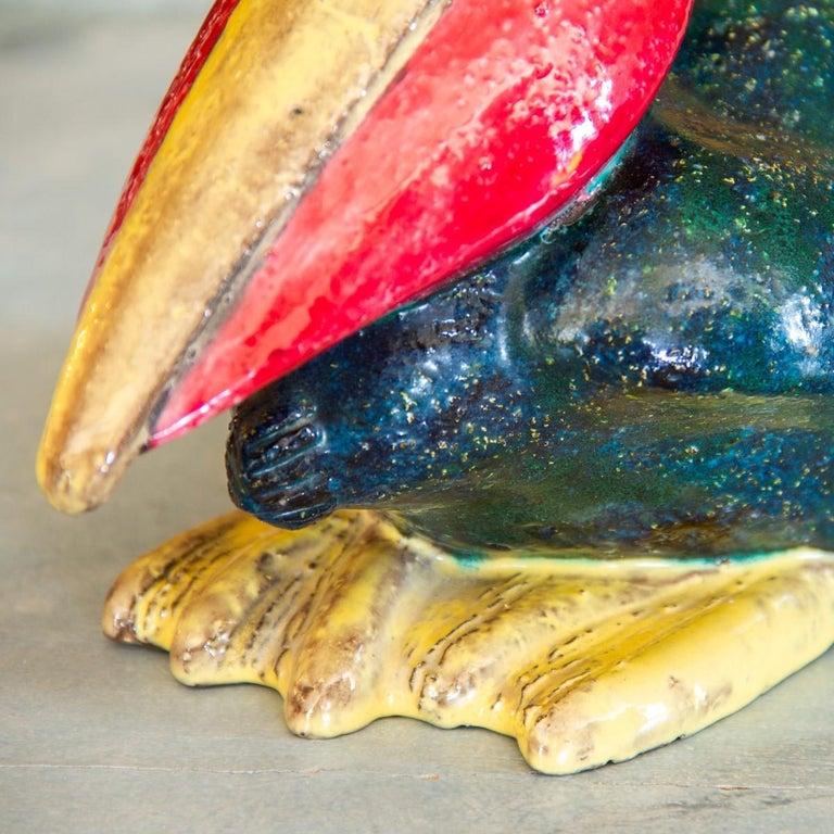 A brightly painted, Danish ceramic pelican, circa 1920s.
