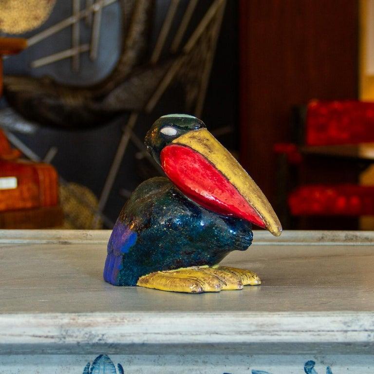 Danish Painted Ceramic Pelican, 1920s For Sale 2