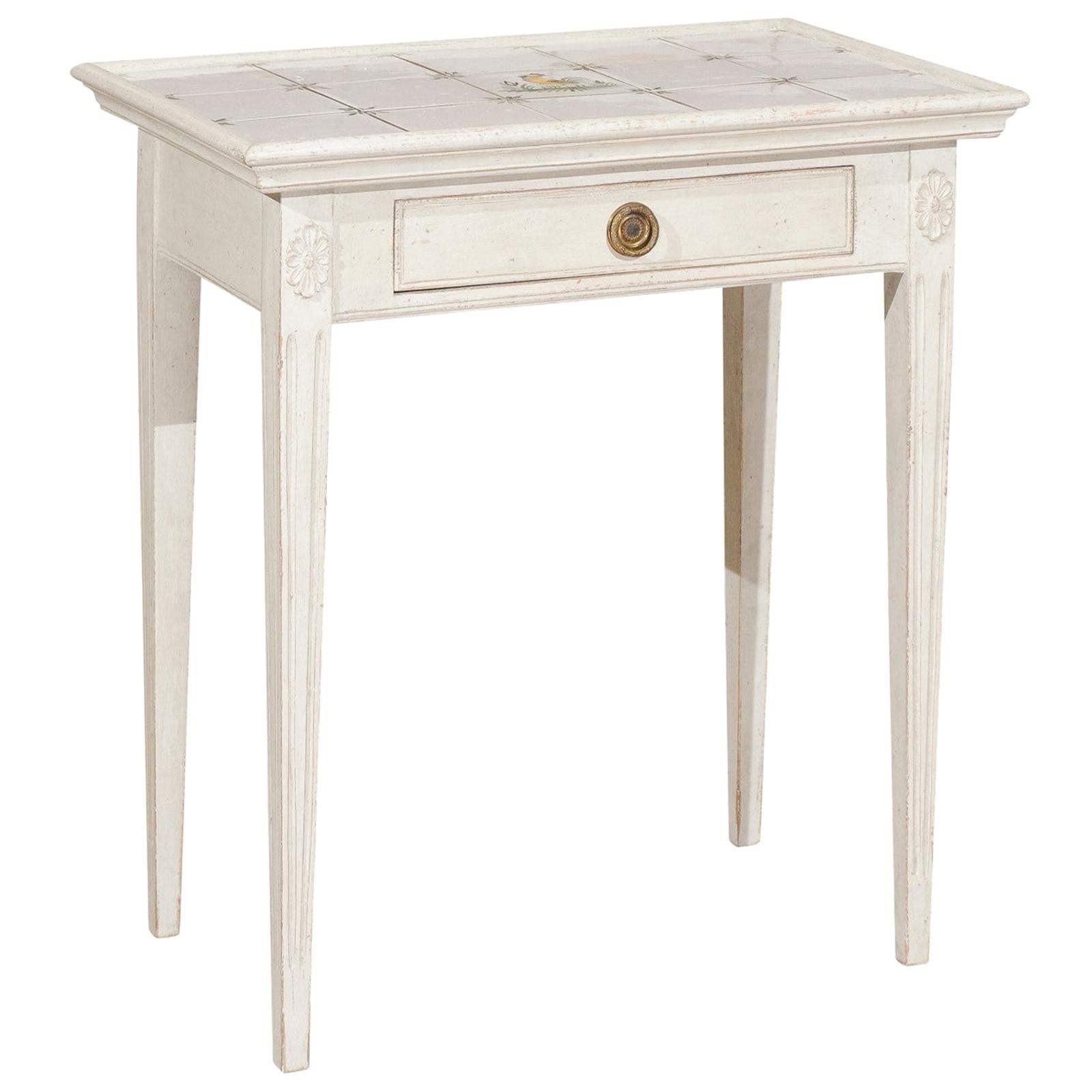 Danish Painted Wood Side Table with Tile Top, Rooster Motif and Single Drawer