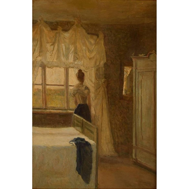 Danish Painter circa 1890s, Bedroom Interior with a Woman by the Window For Sale